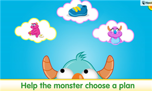 picture from Sesame street app, monster thinking of what plan to choose
